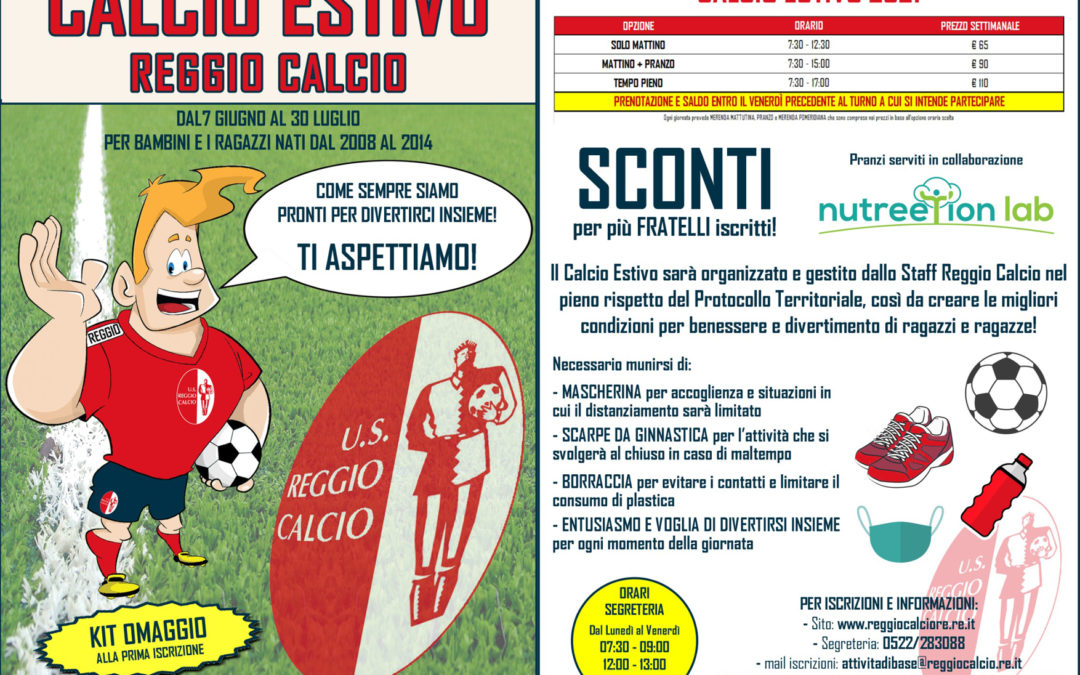 """Tutto pronto per il """"Calcio estivo 2021"""" riservato a bimbi e bimbe dai 2008 ai 2016. Iscrizioni al via: è possibile prenotare le singole settimane dal 7 giugno al 30 luglio"""